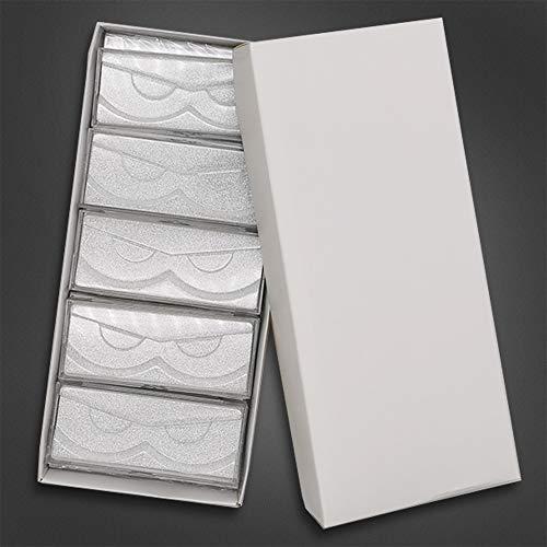 Huapan 10 Stück leere Wimpernboxen Glitzerpapier Kunststoff-Wimpernkoffer Aufbewahrung Großverpackung für den Großhandel mit Wimpernhalter (Silber)