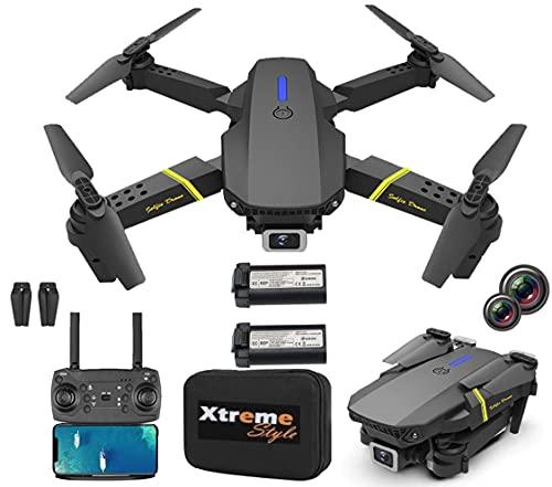 XTREME STYLE ✈️ XS89FPV-PRO Mini Drohne mit Dual Kamera 4K. 50x D-Zoom . 2 Akkus, 30 min Flugzeit. 150m. Faltbarer, stylischer RC Quadrocopter für Kinder und Anfänger. Viele Flug-Modi. Koffer und LED