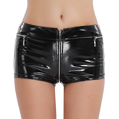 iixpin Damen Kurze Hosen Hot Sexy Kurze Hosen & Gamaschen Pants Hipster Wetlook Panties mit Reißverschluss Schwarz X-Large