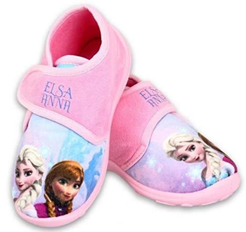 Disney Frozen Hausschuhe Eiskönigin Mädchen Schuhe mit Klettverschluss (Rosa, 27)
