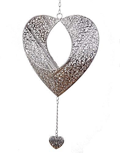 Formano Teelichthalter Kerzenhalter Herz Antik Silber Deko Fenster Hänger Metall mit Kette und Ornamenten (32 cm)