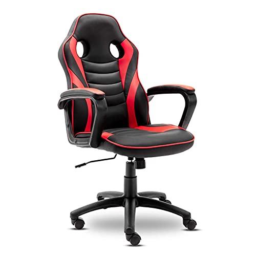 Silla de Juego única, un sillón reclinable de Cuero ergonómico administrativo con Soporte Lumbar y un sillón reclinable Suave y Relajante de rotación Ajustable (Color: Rojo)