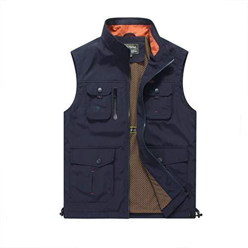 JSY De lente en herfst vest mannen meer pocket werkkleding, puur katoen gewassen vest, jeugd fotografie vest Bodywarmers (Color : Blue, Size : XL)