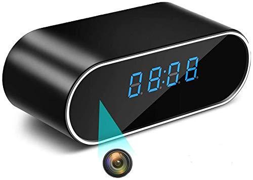 Reloj Despertador con cámara espía, cámara espía WiFi HD 1080P con cámara de Seguridad con visión Nocturna Gran Angular de 140 °, Reloj Despertador con cámara espía inalámbrica