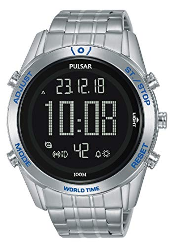 Seiko UK Limited - EU Pulsar M Sport Digital World Timer Uhr mit Edelstahl Armband P5A033X1