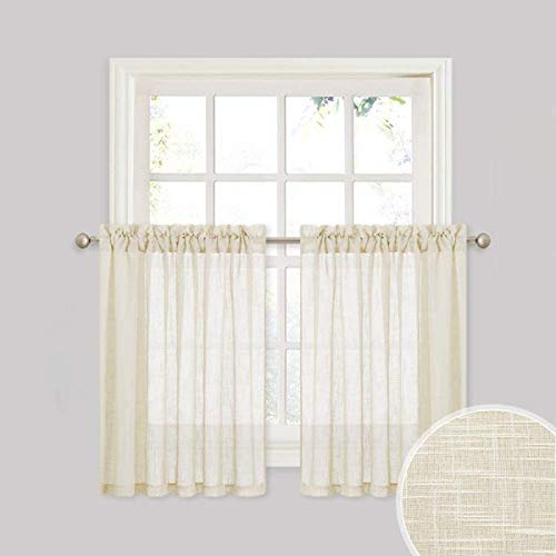 """Cozynight Half Sheer Curtains Yellow Kitchen Curtains Rod Pocket Half Sheers Cafe Curtains Voile Bathroom Small Window Curtains 36"""" Wide 36"""" Lengths 2 Panels"""