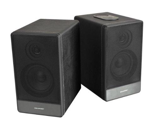 Blaupunkt BT 105 Bluetooth Lautsprecher, 2 x 40 Watt, USB, AUX-In für MP3-Player, ERP2, 2-Wege-Lautsprecher im Holzgehäuse mit Lederoptik, PC Speaker Schwarz