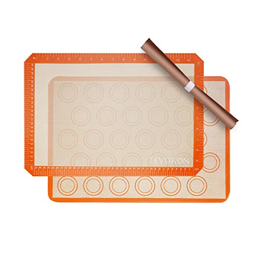 Tevokon Silicone Baking Mats Non-Stick Food Safe Sheets Half Sheet (11 5/8' x 16 1/2') Tray Pan Liners Orange Reusable For Macaron Cookie Pie Pizza
