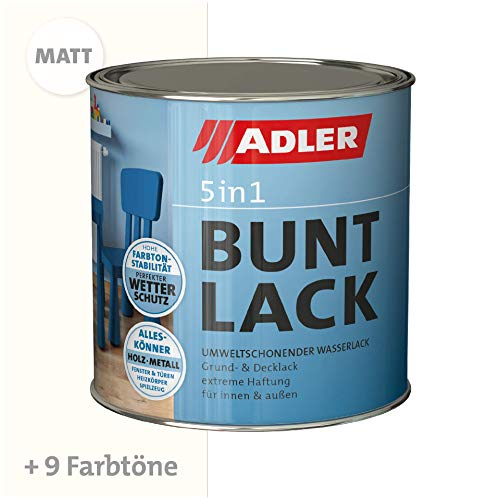 ADLER 5in1 Buntlack für Innen und Außen - Matt - 125 ml - Wetterfester Lack und Grundierung für Holz, Metall & Konstoff, RAL9001 Cremeweiß