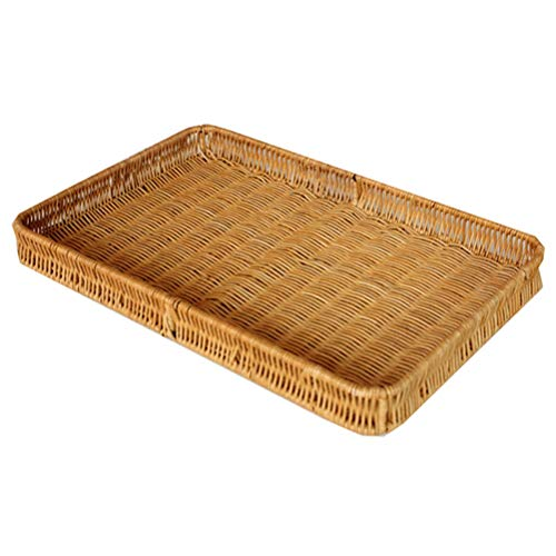 Bamboo Rattan Woven Fruit Storage Basket Bread Basket Rectangular Home Living Room Kitchen Coffee Table Candy Snack Snack Plate, Storage Tray (Color : Natural)