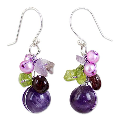 NOVICA Garnet and Amethyst Cluster Earrings with Cultured Freshwater Pearls and Peridot, 'Bright Bouquet'