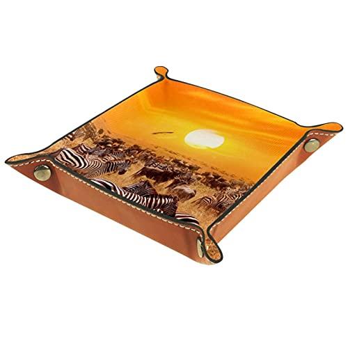 Sunset and Zebra for Men Key Wallet Monedero organizador de mesa