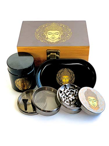 New! Buddha Stash Box Combo – First-Class Bamboo Wood Herb Box Including All Accessories, Key Lock, Premium Grinder, Smell Proof UV Jar for Your Herbs, and a Matching Rolling Tray