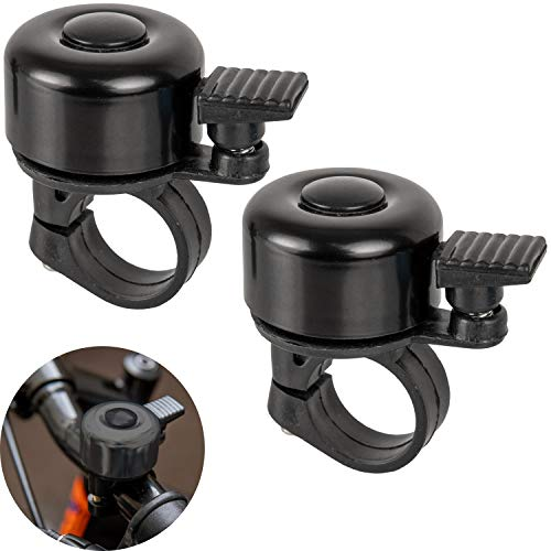 Campanelli per bicicletta in nero, con suono forte e chiaro per manubri Ø 21 mm - Ø 25 mm, con vite di fissaggio - Campanello universale per bici in più colori, Accessori bici, 2 Pacchi, Bike