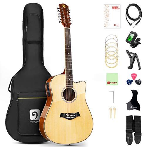 Vangoa 12-Saitige Gitarre Akustische Elektro Cutaway Dreadnought Zwölf Saiten Gitarren Bundle Set, Natürlich