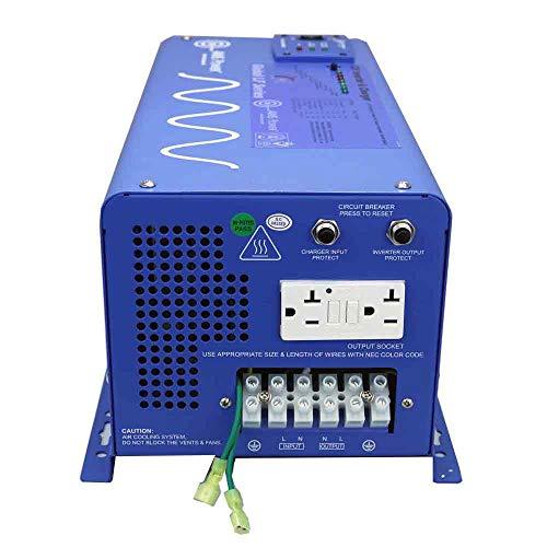 AIMS Power PICOGLF20W12V120VR 2000 Watt and 6000 Watt Surge 12 VDC Input to 120 VAC Output Pure Sine Inverter Charger Backup Power