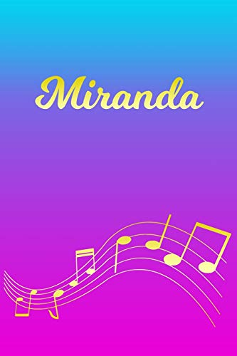 Miranda: Sheet Music Note Manuscript Notebook Paper – Pink Blue Gold Personalized Letter M Initial Custom First Name Cover – Musician Composer … Notepad Notation Guide – Compose Write Songs