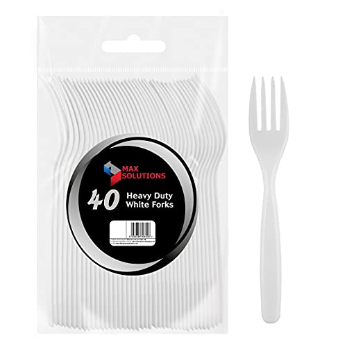 40 Heavy Duty White Forks Tableware Cutlery BBQ Picnic Camping Party Portable Reusable