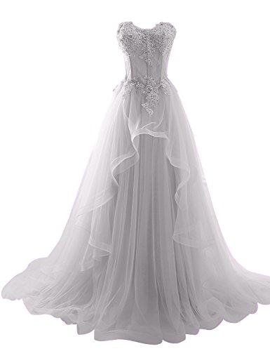 Sarahbridal Damen Bandeau Tüll perspektive Ballkleid Hochzeitskleid Brautkleid Abendkleider elegant mit Blumen Grau Gr. EU50