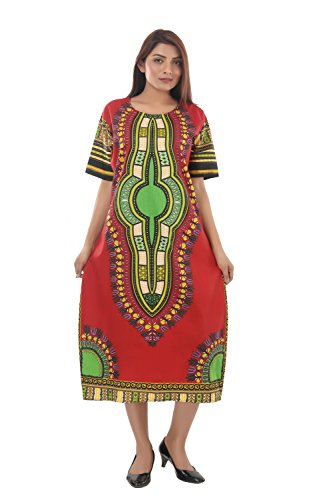 Handicraft-Palace Red Dashiki Printed Dress One Piece Long Dresses Tunic...