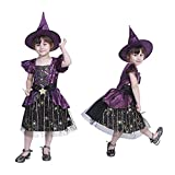 Chollius Costumi Strega Bambina Costumi Halloween Strega 2 Pezzi Abito Tulle Bamina Strega Carnevale Vestito Pizzo Ragazza Manica Volant Stampa Stelle+Cappello Strega 4-12 Anni (Viola, 7-9 Anni)