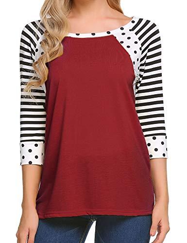 Zeagoo Women's Polka Dots Shirt Striped 3/4 Sleeve Casual Scoop Neck Tops Tee (Wine Red, L)