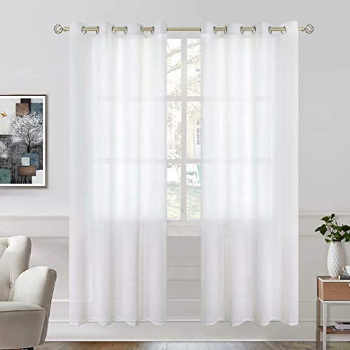 BGment Linen Look Semi Sheer Curtains for Bedroom, Grommet Light Filtering Casual Textured Privacy Curtains for Living Room, 2 Panels (Each 52 x 72 Inch, White)