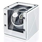 DFJU Enroladores de relógio Branco 2 + 0 Caixa de enrolamento de relógio Mecânico automático Agitador de relógios com Motor silencioso de vidro temperado estojo de armazenamento de relógio;