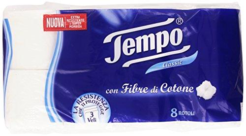 Tempo - Classic, Toilettenpapier mit Baumwollfasern, 3-lagig - 8 Rollen