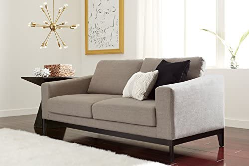 Best Elle Decor Olivia Track Arm Sofa with Solid Wood Base, Upholstered Living Room Couch, Mid-Century Mo