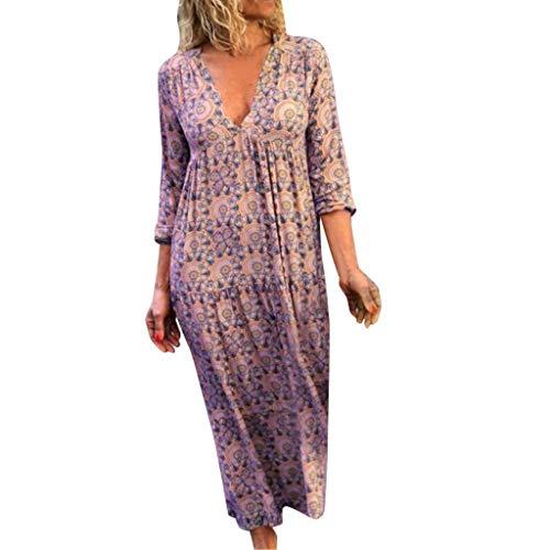Damen Freizeit kleider,Langarm Loose Kleid blusenkleid Frauen Feiertags Art Druck beiläufig plus Größen Damen Kleid Böhmisches Freizeit kleider S-3XL