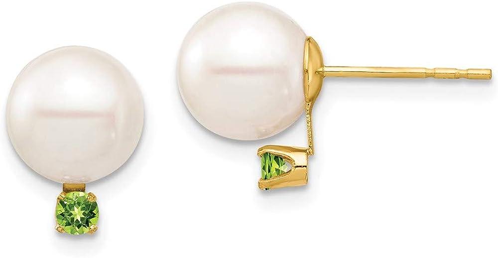14K 8-8.5mm White Round Freshwater Cultured Pearl Peridot Post Earrings 11.19mm style XF754E/PE