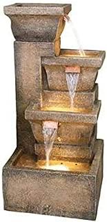 Cosmos eStore Ashboro Zen Fountain Resin 4 Tier Electric Outdoor Waterfall Fountain with Lights Pump Light Transformer Garden Home Decor