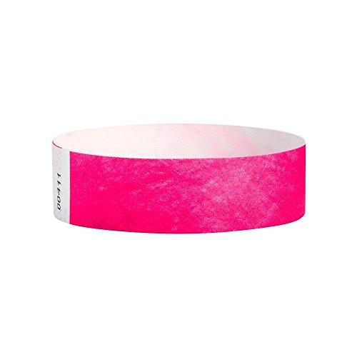 Lote de 100 pulseras de papel tyvek de 19 mm para eventos, festivales - A prueba de rasgaduras - 12 colores disponibles (Rosa)