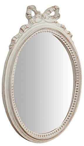 Biscottini Specchio Specchiera da parete stile Shabby in legno con finitura bianco Anticato misure L22xPR2,5xH32 cm produzione Artigianato Fiorentino Made in Italy