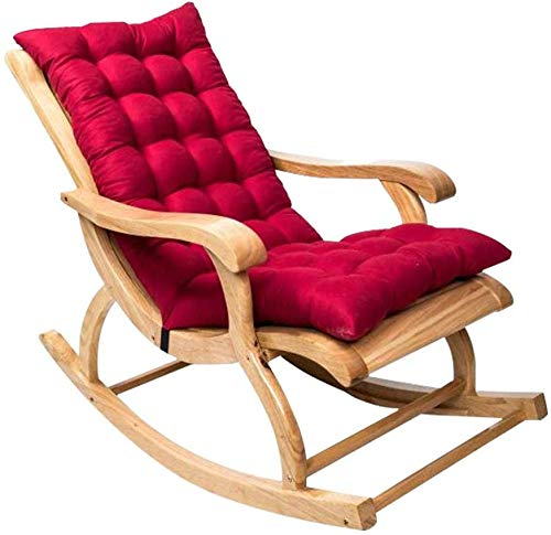Cojín para Tumbonas,Cojín para Mecedoras de Jardín Antideslizante con Lazos de Respaldo,Cojín Reclinable de Espuma Viscoelástica Plegable Cojín de Asiento Suave Chaise Lounge para Sofá (Rojo)