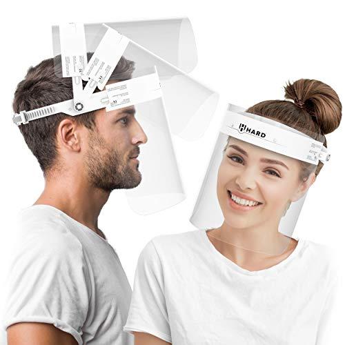 HARD Pantalla Protección Facial 1 x Soporte y 2 x Viseras intercambiables, Face Shield abatible con antivaho, Visera con cierre ajustable - Blanco/Blanco
