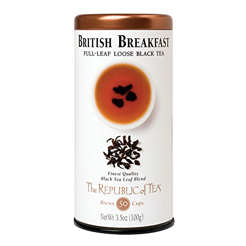 The Republic of Tea British Breakfast Black Full-Leaf Loose Tea, 3.5 oz Tin   Steeps 50 Cups