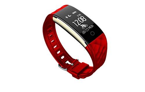 Fitness Armbänder ® S2 Smart Bluetooth Armband Herzfrequenz Schlaf Monitor Wasserdichte Sport Schrittzähler Smart Benachrichtigungen Push TPU Business Wristbands für Android Phone und iOS Phone , red