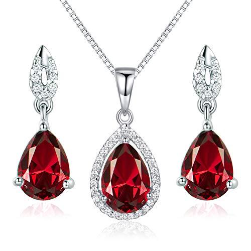 JIANGXIN Waterdrop Red Garnet Birthstone 925 Sterling Silver White Gold Plated Fine Jewelry Set for Women Pendant Necklace Stud Earring