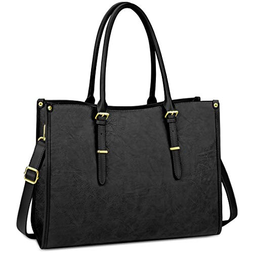 NUBILY Laptop Bag for Women 15.6 Inch Waterproof Lightweight Leather Laptop Tote Bag Womens Professional Business Office Work Bag Briefcase Large Computer Bag Shoulder Handbag Black