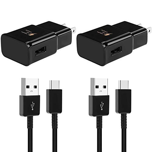 Adaptive Fast Charging Wall Charger Compatible for Samsung Galaxy S10/S9/S8/S10+/S10 Plus/S8+/S9+/ Note 8/ Note 9/ Note 10/Note 20/S21/S21+/S21 Ultra/ S20/S20 Plus with USB Type C Cable (2 Pack)