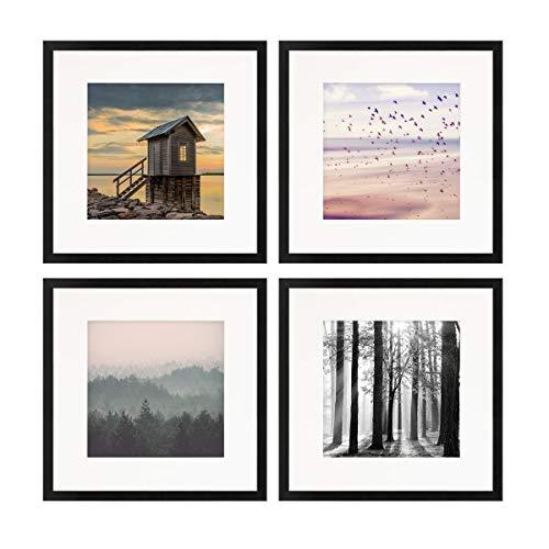 PHOTOLINI 4er Set Poster-Bilderrahmen 30x30 cm mit Passepartout 20x20 cm Modern Schwarz aus MDF mit Acrylglas/Posterrahmen/Wechselrahmen