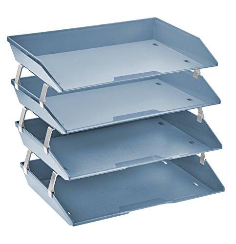Acrimet Facility Organizzatore di Documenti in Plastica Vaschetta Portadocumenti per Ufficio a 4 Ripiani Laterale (Blu)