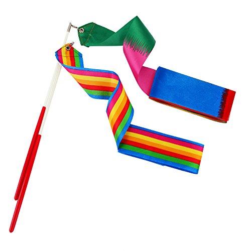 Whaline 2 Stück Regenbogen Gymnastikband Tanzband mit Stab, Turnband Rhythmikband Wirbelband für Kinder Mädchen ( Pro/2M)