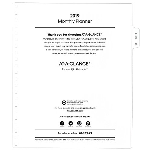 """AT-A-GLANCE 2019 Monthly Planner Refill, January 2019 - December 2019, 9"""" x 11"""", White (7092379)"""