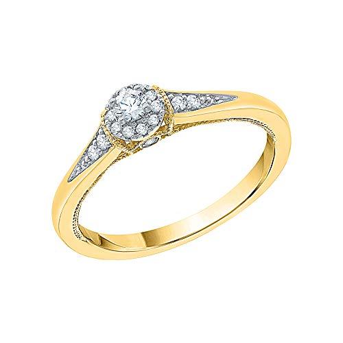 KATARINA Anillo de compromiso con halo de diamantes en oro de 14 k (1/5 cttw, J-K, SI2-I1)