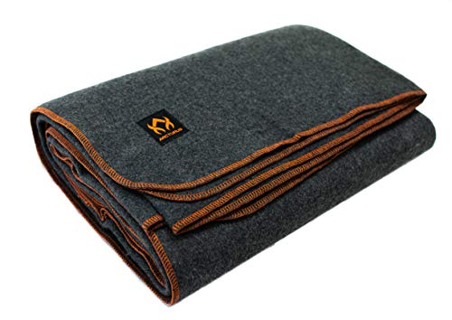 """Arcturus Military Wool Blanket - 4.5 lbs, Warm, Thick, Washable, Large 64"""" x 88"""" - Great for Camping, Outdoors, Survival & Emergency Kits (Military Gray)"""