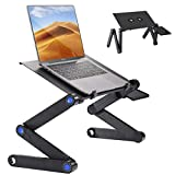 Casturu Folding Laptop Desk, Adjustable Laptop Stand, Portable Table for Laptop,Bed Tray Table with Mouse Pad Plate and Double Cooling Fan.Use for Desk Sofa Bed