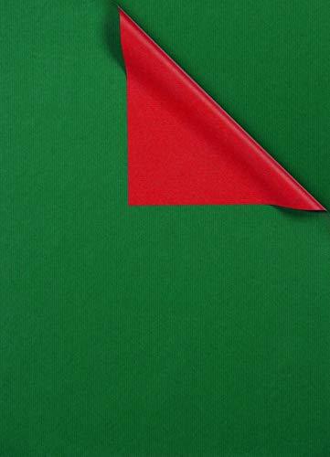 Geschenkpapier Grün Rot beidseitig bedruckt, Secare Rolle, Geschenkverpackung Größe 50cm x 250m